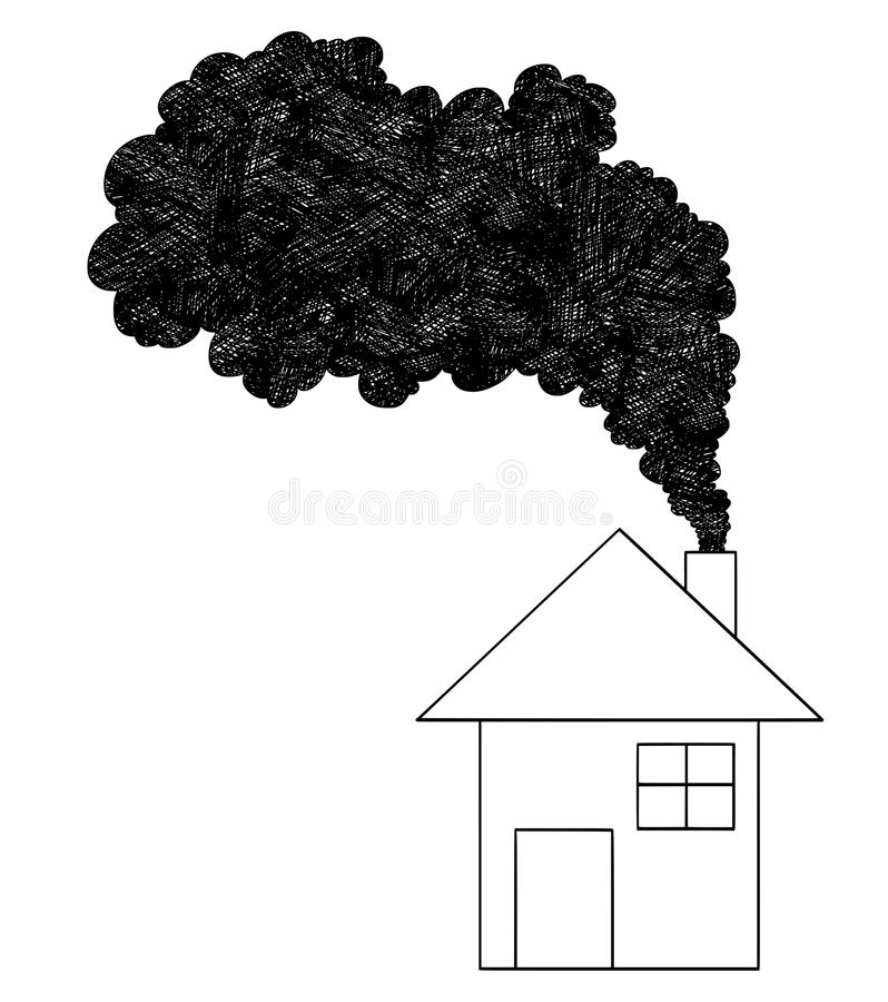 Vektor-künstlerische Zeichnungs-Illustration des Rauches kommend vom Haus-Kamin, Luftverschmutzungs-Konzept stock abbildung