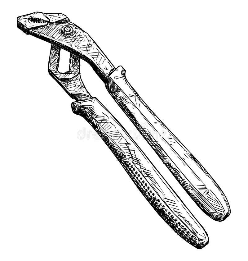 Vektor-künstlerische Zeichnungs-Illustration von den justierbaren Zangen lokalisiert vektor abbildung