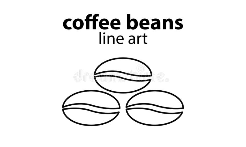 Vektor-Kaffeebohne-Linie Kunst lizenzfreie stockfotos