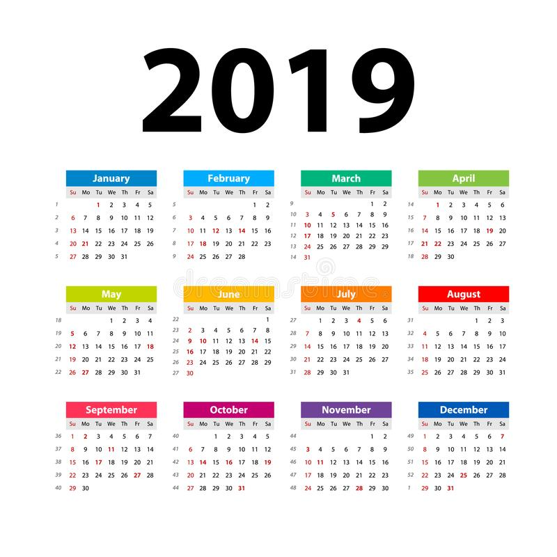 Vektor-Kalender 2019 bunt Wochenanfänge am Sonntag Englischer Kalender Neues Jahr Farbübersichtliches design stock abbildung