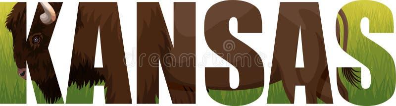 Vektor Kansas - ord för amerikansk stat med den zubrbuffelbisonen och grässlätten stock illustrationer