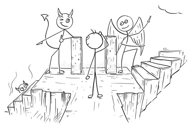 Vektor-Karikatur des Engels und Teufel, der Mann zwei Möglichkeiten zu Hölle A zeigt vektor abbildung