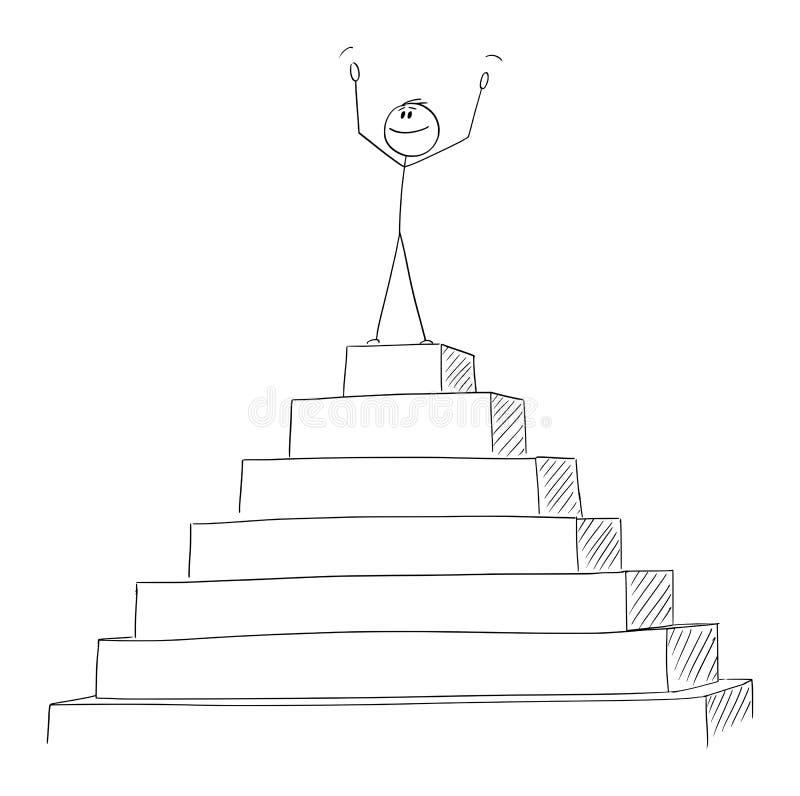 Vektor-Karikatur des erfolgreichen Mannes oder des Geschäftsmannes Celebrating auf der Spitze der Pyramide Konzept des Erfolgs lizenzfreie abbildung
