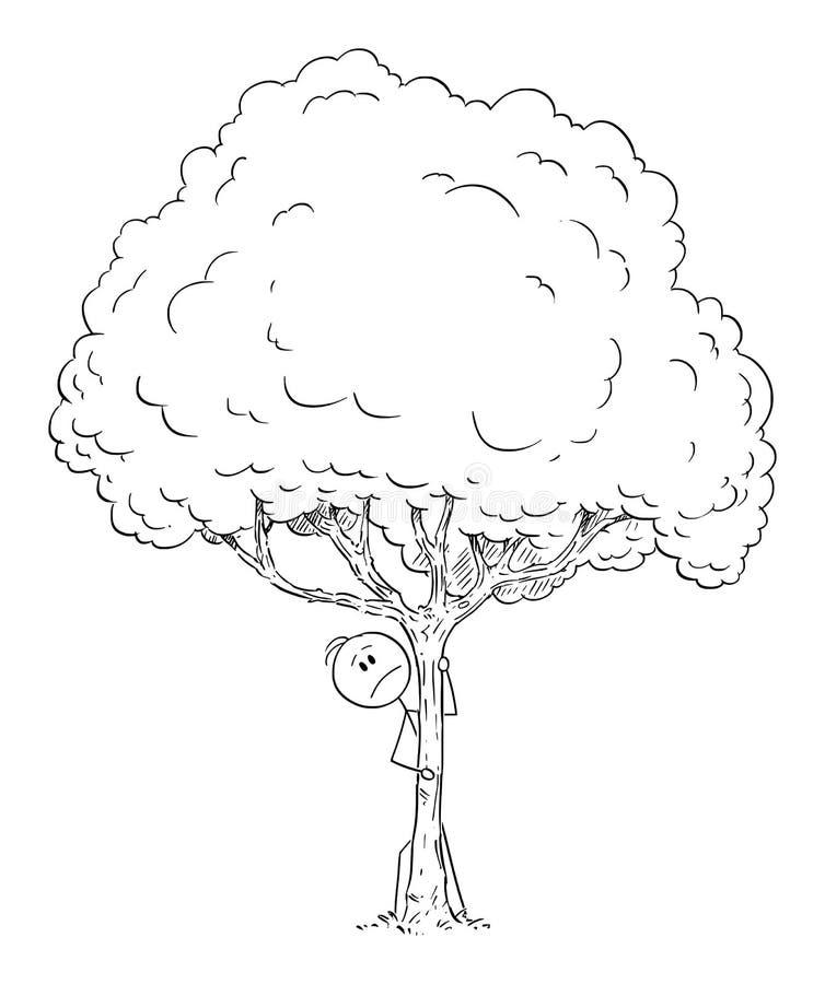 Vektor-Karikatur des Mannes des ängstlichen oder besorgten oder neugierigen Mannes, der hinter Baum sich versteckt vektor abbildung