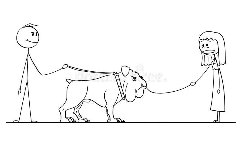 Vektor-Karikatur des Mannes mit großem Hund, das kleinen Hund auf Leine essen vektor abbildung