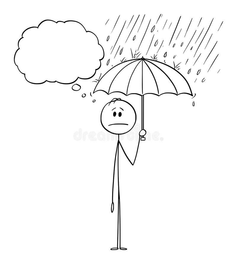 Vektor-Karikatur des Mannes oder des Geschäftsmannes Standing im Regen oder im Sturm und im halten Regenschirm stock abbildung