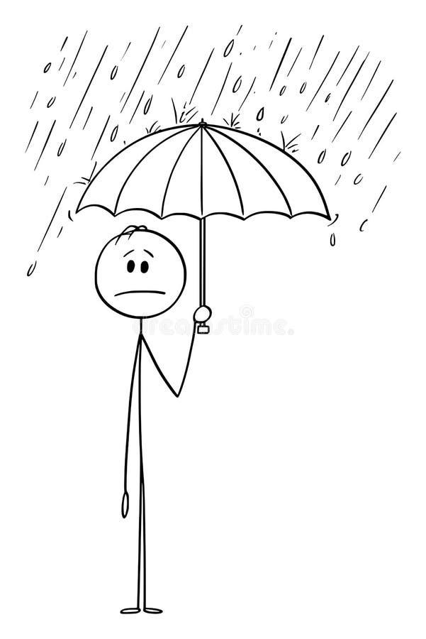 Vektor-Karikatur des Mannes oder des Geschäftsmannes Standing im Regen oder im Sturm und im halten Regenschirm vektor abbildung