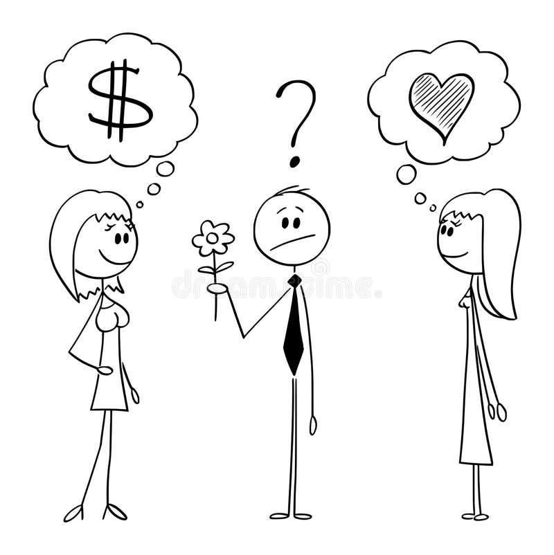Vektor-Karikatur des zögernden Mannes mit Blume entscheiden zwischen zwei Frauen lizenzfreie abbildung