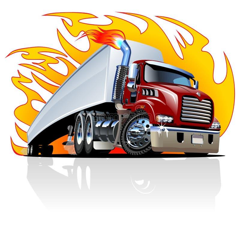 Vektor-Karikatur-halb LKW. Ein-Klicken streicht neu stock abbildung