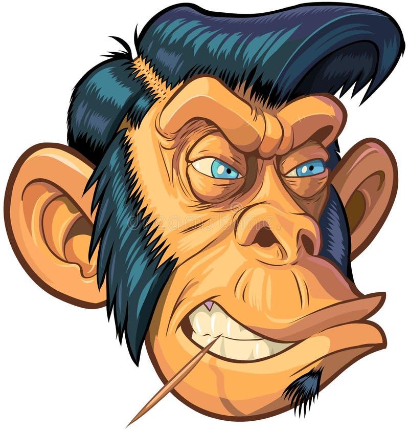 Vektor-Karikatur-Hippie-oder Schmierer-Affe-Kopf-Illustration lizenzfreie abbildung