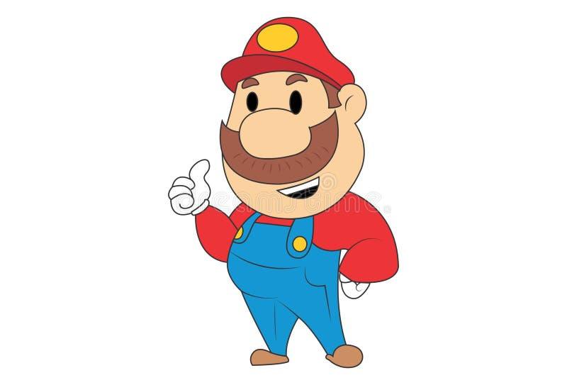 Vektor-Karikatur-Illustration von nettem Mario stock abbildung
