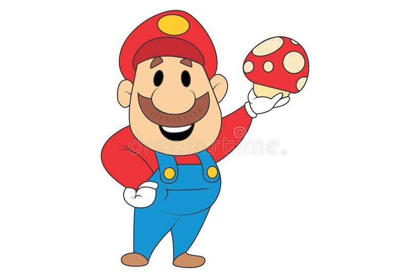 Vektor-Karikatur-Illustration von nettem Mario vektor abbildung
