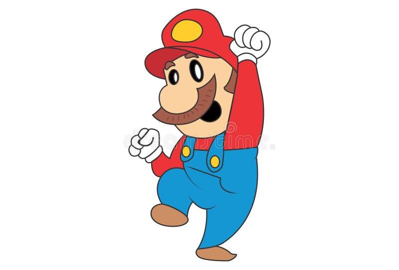 Vektor-Karikatur-Illustration von nettem Mario lizenzfreie abbildung