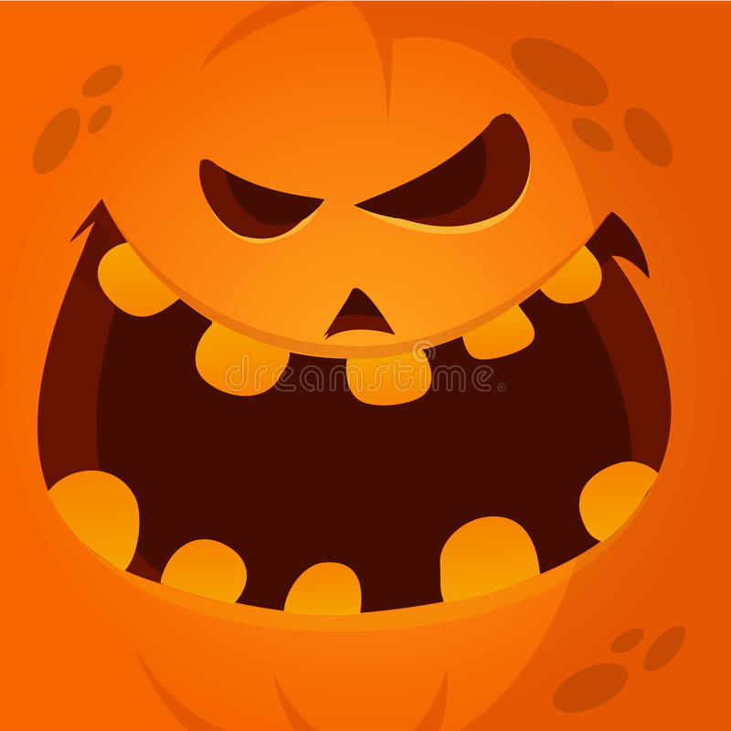 Vektor-Karikatur-lustiges Halloween-Kürbis-Gesichts-Lächeln 189avatar lizenzfreie abbildung