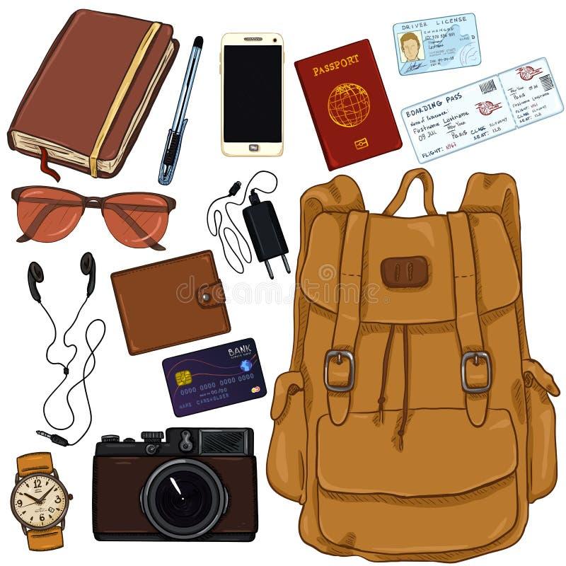 Vektor-Karikatur-Reise-Satz Persönliches Eigentum für Reise stock abbildung