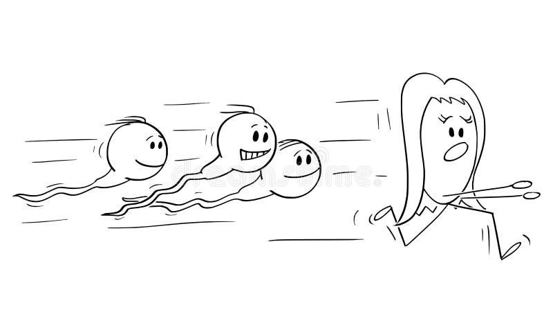 Vektor-Karikatur von den menschlichen Samenzellen oder von Spermium, die Ei jagen oder Ovum, um es zu befruchten lizenzfreie abbildung