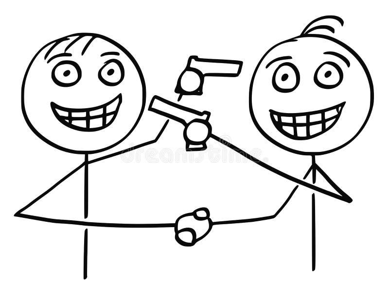 Vektor-Karikatur von zwei Männern Händeschütteln, lächelnd und zeigen Gewehre lizenzfreie abbildung