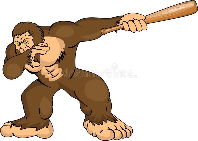 Vektor - Karikaturgorilla-Holdingschläger lizenzfreie abbildung