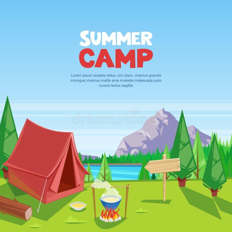 Vektor-Karikaturillustration des Sommers kampierende Abenteuer-, Reise- und ecotourismuskonzept Touristisches Lagerzelt auf Wiese lizenzfreie abbildung