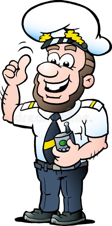 Vektor-Karikaturillustration eines glücklichen Schiffs-Kapitäns stockbild