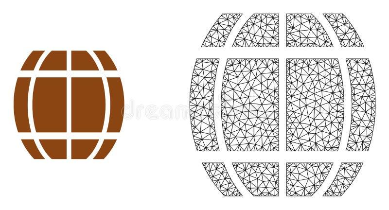 Vektor-Karkasse Mesh Barrel und flache Ikone lizenzfreie abbildung