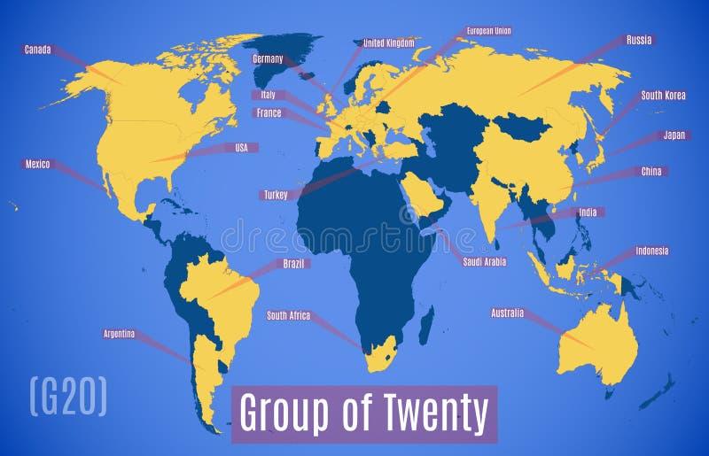 Vektor-Karte Mitgliedsländer im G20 lizenzfreie abbildung