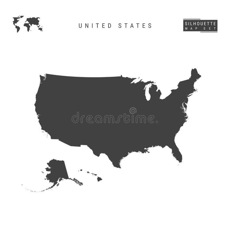 Vektor-Karte Vereinigter Staaten lokalisiert auf weißem Hintergrund Hoch-ausführliche schwarze Schattenbild-Karte von USA lizenzfreie abbildung