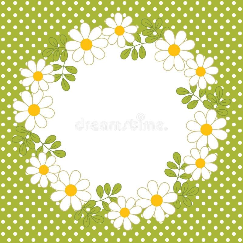 Vektor-Karten-Schablone mit einem Blumenkranz auf Polka Dot Background Vektor-Sommer-Kranz mit Gänseblümchen vektor abbildung