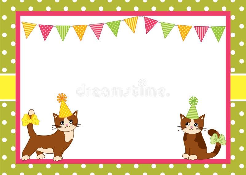 Vektor-Karten-Schablone mit Katzen und Flagge auf Polka Dot Background lizenzfreie abbildung