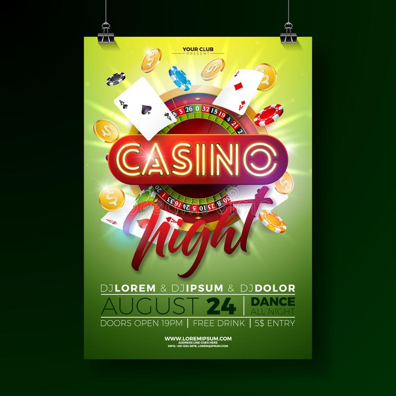 Vektor-Kasinonachtfliegerillustration mit spielenden Gestaltungselementen und gl?nzende helle Neonbeschriftung auf gr?nem Hinterg vektor abbildung