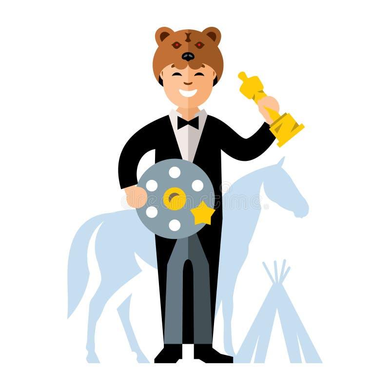 Vektor-Kino-Preis Bester Schauspieler Flache Art bunte Karikaturillustration vektor abbildung