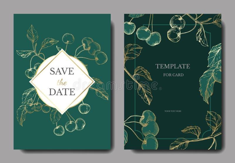 Vektor-Kirschfrüchte Goldene und grüne gravierte Tintenkunst Heiratsdekorative mit Blumengrenze der hintergrundkarte lizenzfreie abbildung