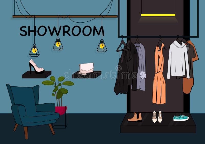 Vektor kleidet Schaufensterillustration Ausstellungsraumwandschrank mit Jacke, Kleid und T-Shirt auf Aufhänger, Schuhe auf Schauk lizenzfreie abbildung