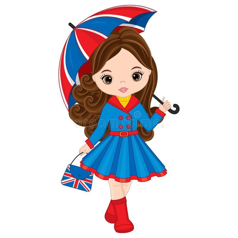 Vektor-kleines Mädchen, das Regenschirm und Handtasche mit britischem Flaggen-Druck hält lizenzfreie abbildung