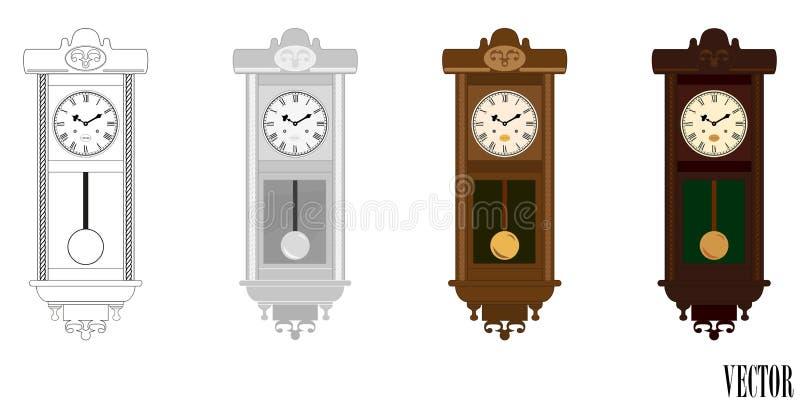Vektor: Klockpendelväggträklocka i variationer för färg (färg) royaltyfri illustrationer