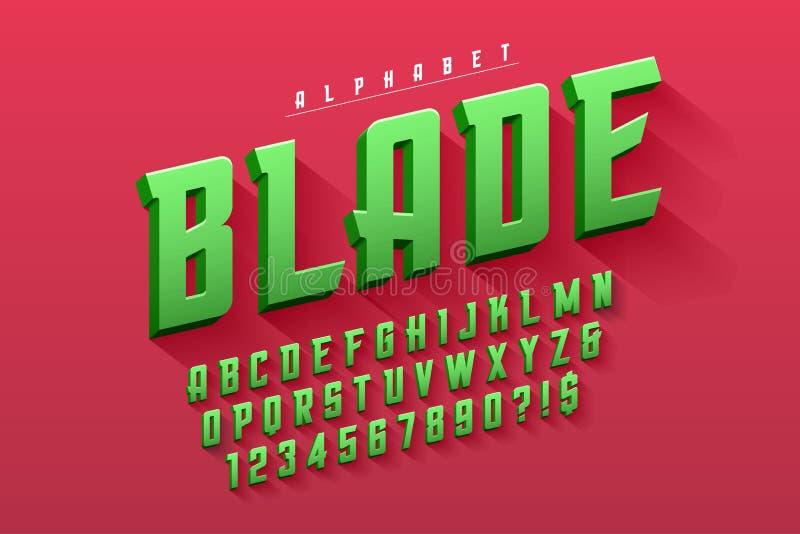 Vektor kondenserad original- skärmstilsortsdesign, alfabet royaltyfri illustrationer