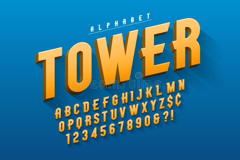 Vektor kondenserad original- skärmstilsortsdesign, alfabet stock illustrationer