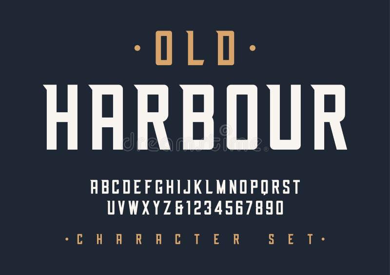 Vektor kondenserad retro skärmstilsortsdesign, alfabet, tecken royaltyfri illustrationer