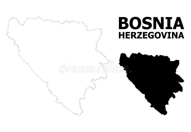 Vektor-Kontur punktierte Karte von Bosnien und Herzegowina mit Titel vektor abbildung