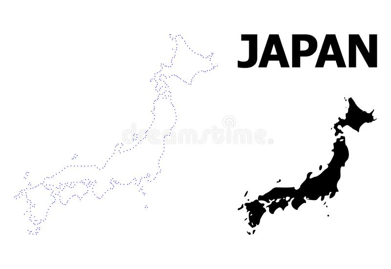 Vektor-Kontur punktierte Karte von Japan mit Namen vektor abbildung