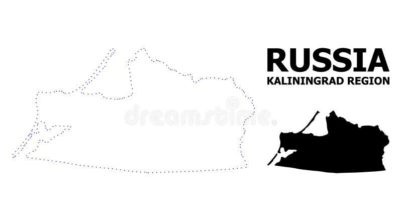 Vektor-Kontur punktierte Karte von Kaliningrad-Region mit Namen lizenzfreie abbildung