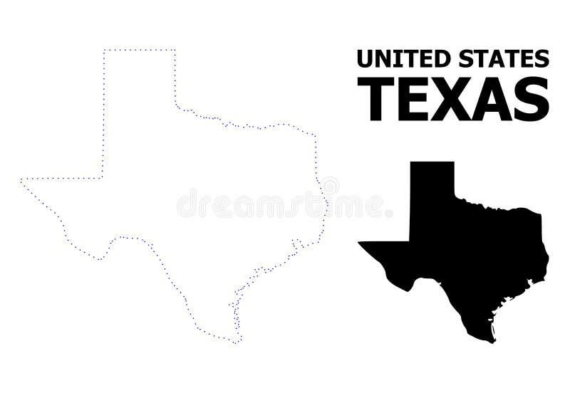 Vektor-Kontur punktierte Karte von Texas State mit Namen vektor abbildung