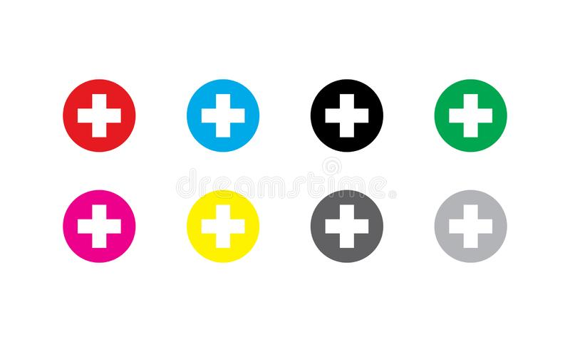 Vektor-Krankenhausikonen von verschiedenen Farben lizenzfreie stockfotografie