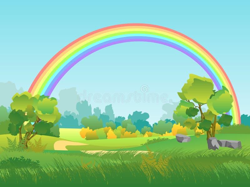 Vektor-ländliche Landschaft mit Regenbogen Sommerzeit-Hintergrund mit Park, Baum, Himmel-Illustration lizenzfreie abbildung