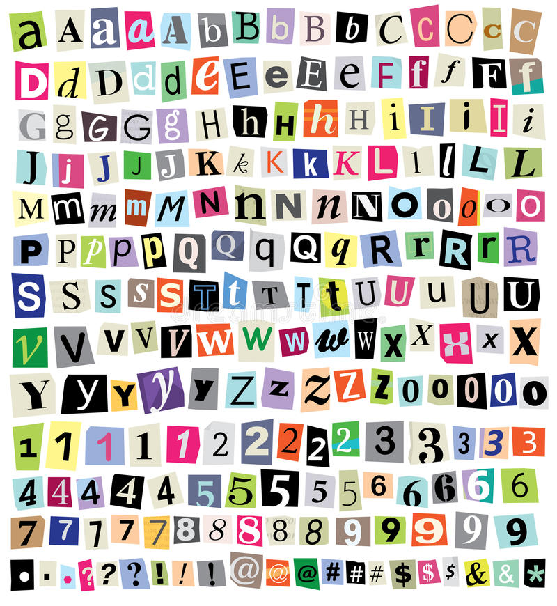 Vektor-Lösegeld-Anmerkungs-Schnitt-Papier-Buchstaben, Zahlen, Symbole stock abbildung