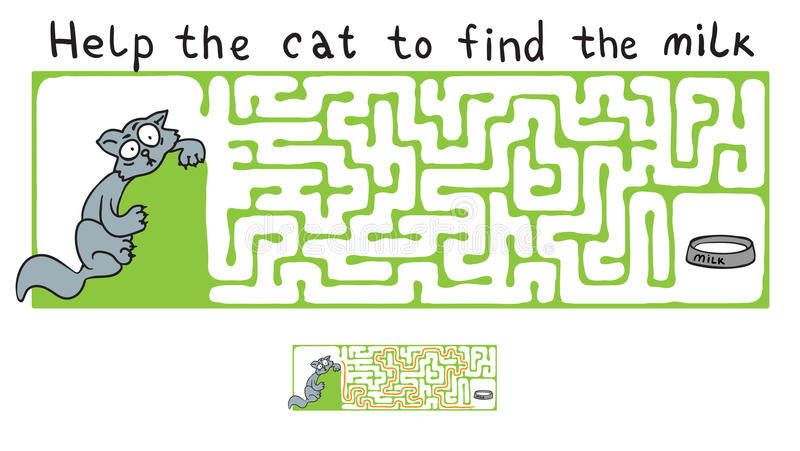 Vektor-Labyrinth, Labyrinth mit Katze lizenzfreie abbildung