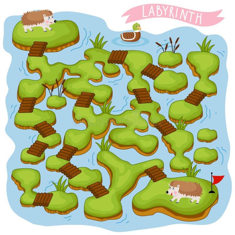 Vektor-Labyrinth, Logik-Spiel für Kinder vektor abbildung