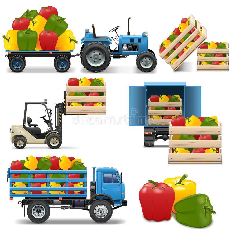 Vektor-landwirtschaftliche Ikonen stellten 4 ein stock abbildung