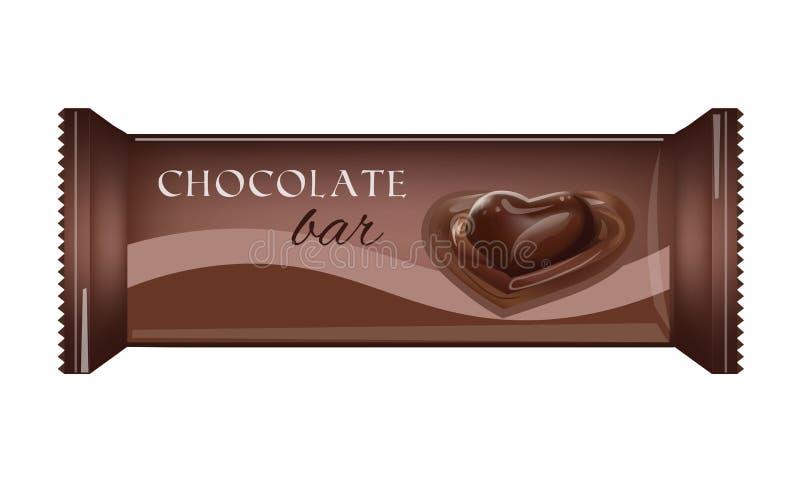 Vektor-Lebensmittel-Verpackung für Keks, Oblate, Cracker, Bonbons, Schokoriegel, Schokoriegel, Snäcke lizenzfreie abbildung