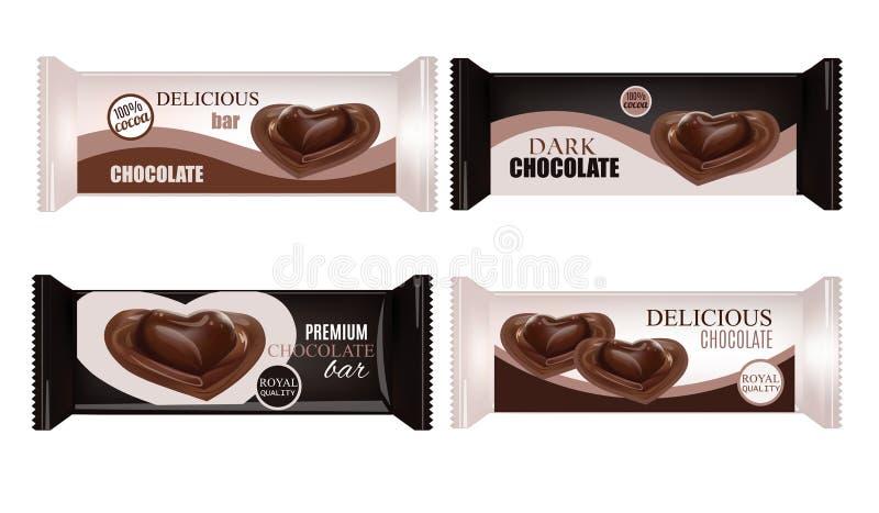 Vektor-Lebensmittel-Verpackung für Keks, Oblate, Cracker, Bonbons, Schokoriegel, Schokoriegel, Snäcke Schokoriegel Design lokalis stock abbildung